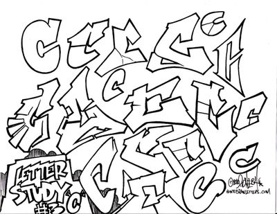 how to draw the letter c in graffiti