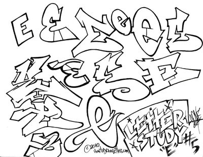 Phase 1 graffiti style letter e how to draw letters gallery
