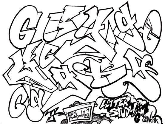 b graffiti letter lowercase coloring pages - photo #41