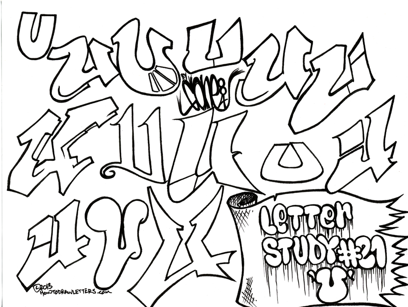 Letter Study number 21: The Letter U in graffiti style